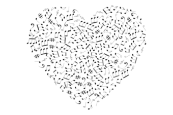heart shaped music notes
